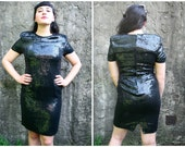 Brand New Vintage Black Sequin Silk Cocktail Evening New Years Dress Size 8 Size 10