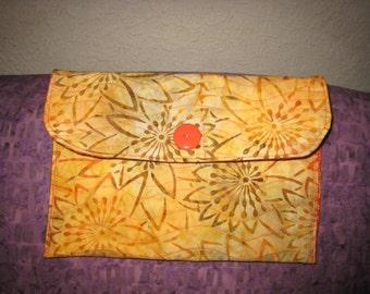 Yellow & Orange Batik Quilted Clutch