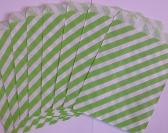 "25 Lime Green and White Striped Paper Treat Baggy- Goody Favor Bitty Bags- Baby Bridal Shower Gift Bag-Candy, Treats, Utensil Baggy- 5"" x 7"""