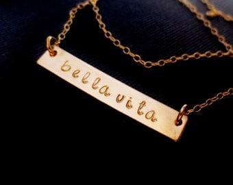 Gold Bar Necklace, Personalized Handstamped Name Initials, Bella Vita, Kardashion, Kids Names, Minimal Gold Filled, Mothers Day, Graduation