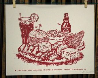 Woodcut Letterpress Print - Meat and Three