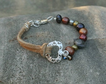 Say I LOVE YOU with a Heart Bracelet - Multicolor Pearl and Leather Accent