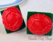 FOOD JEWELRY - very tiny Chinese Ang Ku Kueh Nickle Free Earring STud/Post.