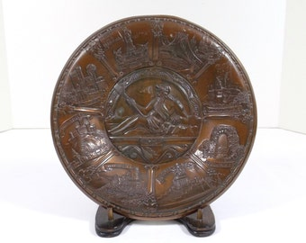 German Copper Over Pewter Collector Plate