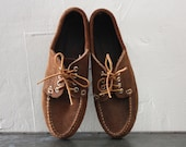 Minnetonka Leather Suede Shoes Moccasin Oxford Style with Laces