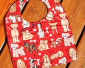 TODDLER or NEWBORN Bib: Dogs on Red, Personalization Available