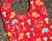 TODDLER BIB: Jungle Animals on Red, Personalization Available