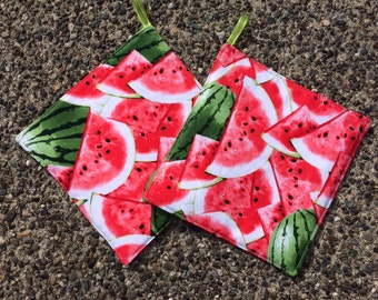 Two (2) Pot Holders - Watermelons Galore with Loops, Personalization Available