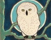 Snowy Owl, bird, hot plate, wall decor, kitchen backsplash, bathroom tile,mosaic, mural, installation, hand crafted, hand painted