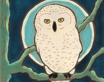 Snowy Owl, bird, hot plate, wall decor, kitchen backsplash, bathroom tile,mosaic, mural, installation, hand crafted, hand painted