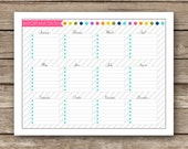 Printable Important Dates Worksheet - Generic / Any Year