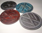 red white blue and black urban fossil concrete vw drink coaster fossilized art set of 4