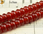 15 inch strand of natural Carnelian smooth rondelle beads 5x8mm