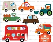 Baby Animals on Vehicles Clip Art ---- Personal and Small Commercial Use ---- BB 0736