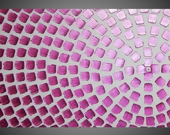 Painting Abstract Art Wall Art on large Canvas White Pink Metallic Squares 48 x 24 Ready to Hang painting by ilonka Made to Order