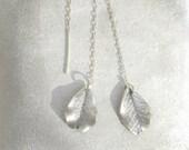 Silver leaf earrings, Silver threader earrings, Authentic silver earrings, One-of-a-kind  earrings, Chain earrings, Long threaders