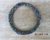Metallic Peacock Blue Crocheted Beaded Bracelet, Seed Beads,Nepal, MB13