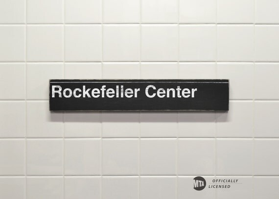 Rockefeller Center Subway Sign - Hand Painted on Wood
