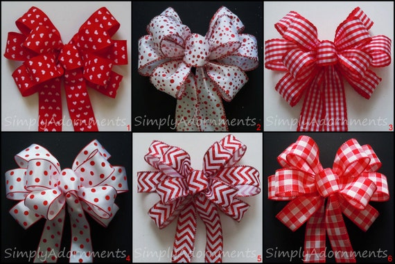 Red White Christmas Wreath Bow Red White Wedding Pew Bow Polka Dots Birthday Party Decor Red White Gingham Bows Custom Handmade Gifts Bow