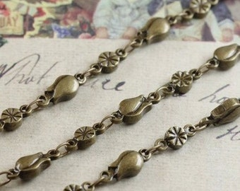 2 meter raw Brass  plating antique bronze  tulip and flower handmade chain