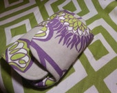 Zip & Go Mobile Phone Pouch Green, Purple Floral Dots READY TO SHIP