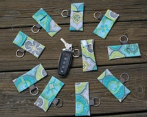 Set of 10-Gray with Lime and Teal Print Lip Balm or Chap Stick Holders Key Chains