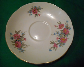 """One (1), 5 3/4"""", Bone China, Tea Cup Saucer, from Adderley, in a Floral Pattern."""