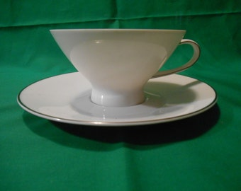 One (1), Porcelain, Footed Tea Cup and Saucer, from Rosenthal / Continentl, in the Classic Platinum (newer) Pattern.