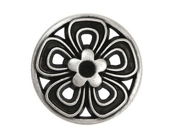 5 Open Flower 11/16 inch ( 17 mm ) Metal Buttons Antique Silver Color