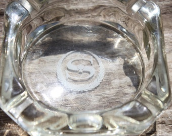 Vintage Sheraton Hotel, Hotel Glass Ashtray,Home Decor, White Printing In Center, No Chipping, Collectible, Great For Use Or Display