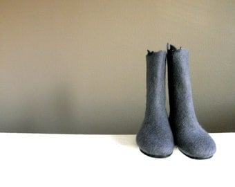 Wool felted boots, Wool shoes, Felted boots, Outdoor boots / Indoor boots, Vibram sole boots, momoish made