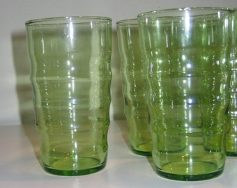 Vintage Federal Glass Lime Green Coronet Ripple Tumblers, 10 oz. Glasses, Set of 6
