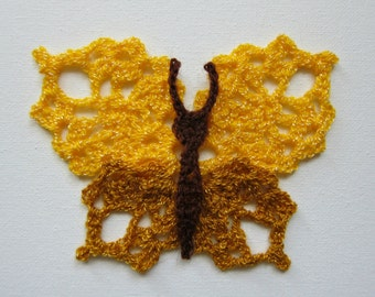 "1pc 4.5"" Crochet Yellow & Gold BUTTERFLY Applique"