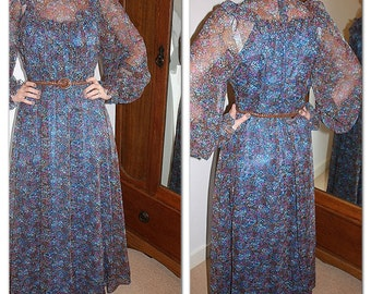 Vintage 1970s Boho floral maxi dress by Vera Mont