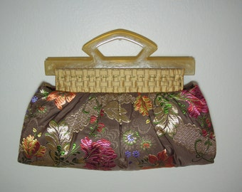 Clutch Purse/Pleated Clutch, Stylish&Cute, Handmade from Silk Fabrics with Colorful Embroidered Floral Pattern and Two Golden Lucite Handles