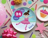 Personalized plate - ballerina birthday plate