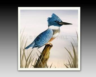 Kingfisher Bird Ceramic Tile with Hook or Coaster
