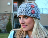 READY TO SHIP - Gray Tweed Chunky Crochet Button Headwrap