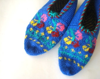 knitted slippers, womens slippers, blue knit Slippers, Turkish Socks Slippers, knit socks, home shoes, Mothers day womans gifts