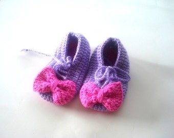 baby shoes, Baby Booties, purple and pink  marry jane  baby booties 6 to 12 months, crochet baby shoes, baby socks, knitted slippers