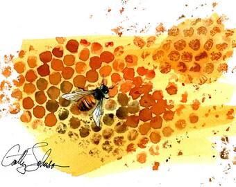 Honey Bee Print - Bold, bright