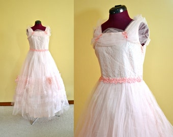 1950s Vintage Pink Tulle Prom Party Dress size M bust 35 waist 31