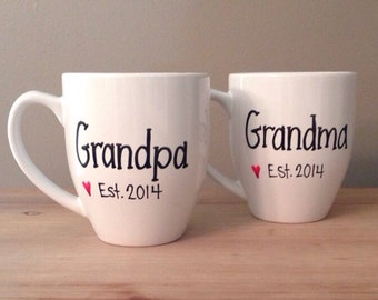 Pregnancy reveal mugs, grandparents to be, pregnancy reveal mugs