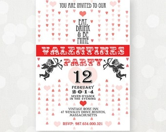 "Printable Valentines Invitations Invate Flyers ""Eat Drink and Be Mine"" Custom Personalized Valentine Day Party Invitation DIY"