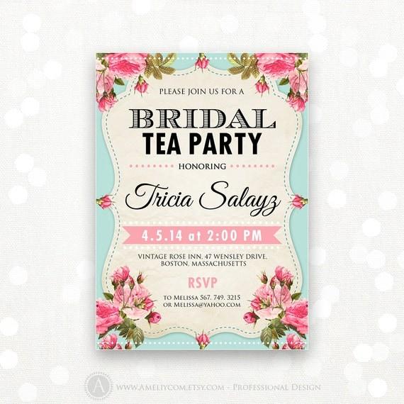 printable bridal shower invitation bridal tea party invite. Black Bedroom Furniture Sets. Home Design Ideas