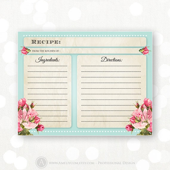 Printable Recipe Cards Teal & Pink Flowers INSTANT DOWNLOAD