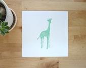 Baby animal art print Violet the Giraffe green nursery wall decor