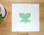 Baby animal art print Jack the Elephant in Green, nursery wall decor