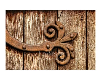 Scrolled Hinge Photo, Church Door, English Countryside, Downton Abbey, Cottage Chic