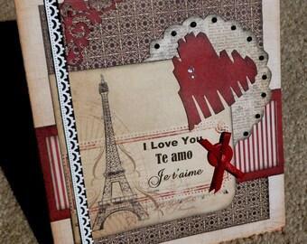 Love/Romance Handmade Paper Layering Greeting Card